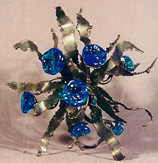 Art Brain welded steel sculpture with glass flowers