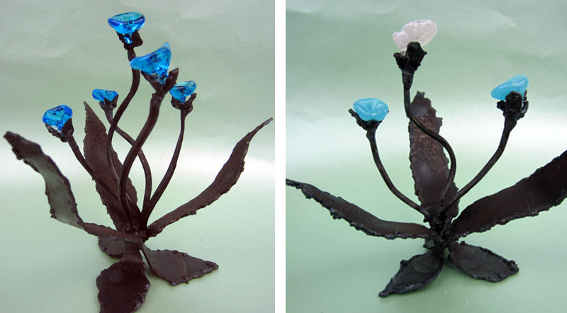 Two new glass flowered welded steel sculptures made for selling at the Silverman Gallery.