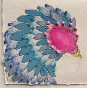 Beaded bird drawing